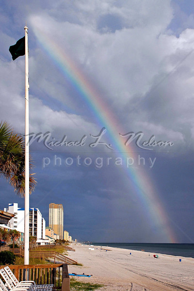 """<font size=4>Week 15  (Mike) -<br>""""God's Promise"""" <font size=3> God created Rainbows as a promise to Noah (and to mankind) that He would never flood the world again. You can read God's promise about rainbows in Genesis chapter 9: vs 8-17. I took this photograph back in August. My son in law loves it and thought that I should share it with everyone. This is one of the largest and most beautiful rainbows that I have ever seen, and it is certainly the prettiest that I have ever photographed.  <font size=3> <br>Tech info: Aperture Priority mode, auto white balance, f5.6, at 1/500th second, Matrix Metering at ISO 200. Shot without polarizer. Image cropped with levels and color adjusted in photoshop"""