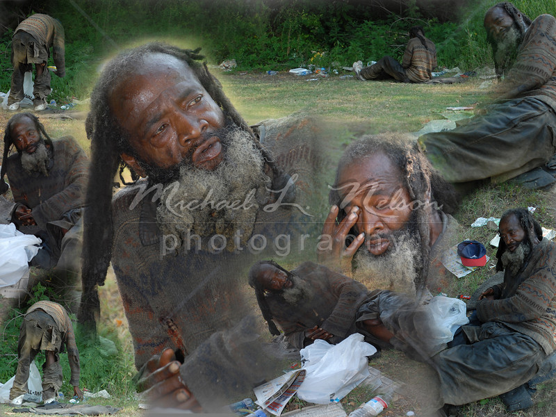 """<font size=4>Week 10  (Mike) - """"Johnny"""" <font size=3> This is a photomerge of a homeless man as he was settling in for the night. Sleeping on the bare ground he had no mat, no pillow, no blanket, no shelter.   He didn't want to talk to me but he did ask me for a cigarette.  After taking these photos I gave him money for food and I asked him his name. He looked down at the ground and simply said,  """"Johnny, my name is Johnny."""""""