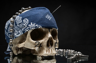 Skull with Etchings, Rosary and Acupuncture Needle