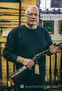 Chicago Bobs Gun Shop - Augusta WI - Bob Holding Double Barrel