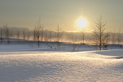 Sunset on snow glade