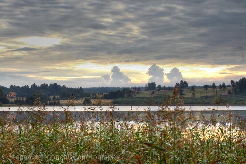 Sky magic at lake morning