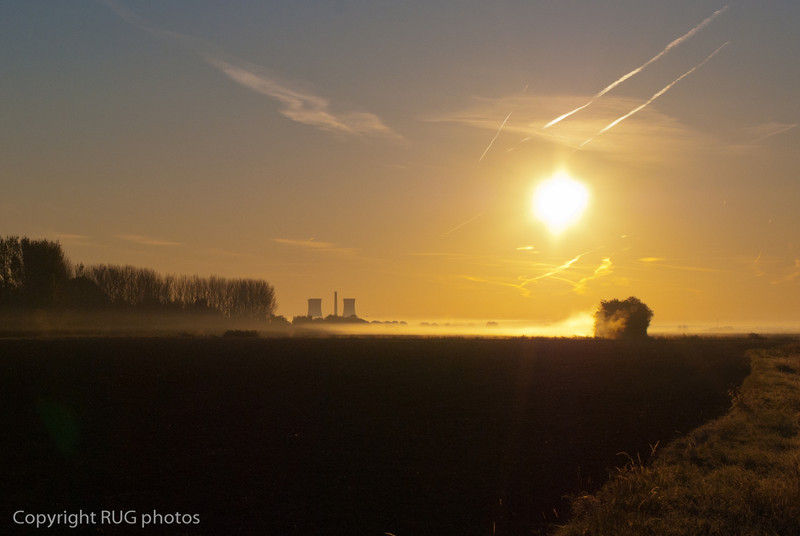 Richborough power station near Sandwich in Kent in Autumnal morning mist.