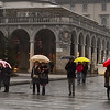 Colorful umbrellas on Bergamo street