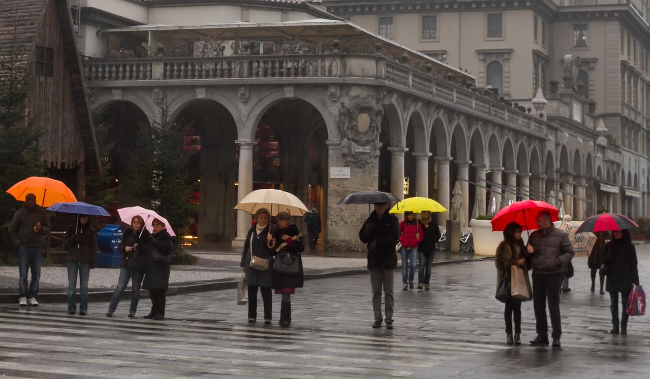 Colorful umbrellas on Bergamo street