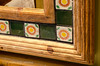 Mirrors were in a rustic scrubbed pine frame with inset tiles.