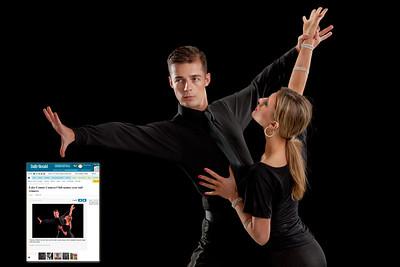 Local Paper: Ballroom Dancer Pair on Black Background