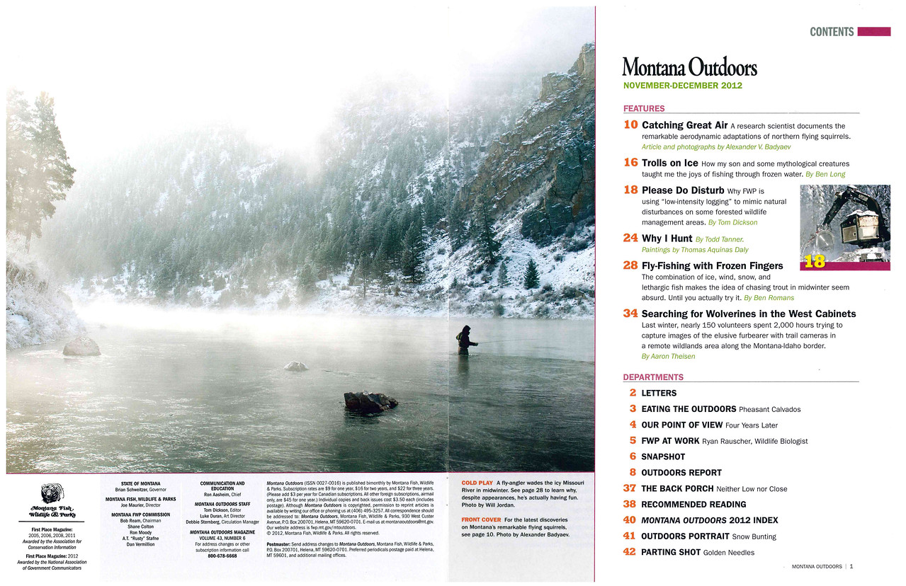 Montana Outdoors November/December 2012 Table of Contents