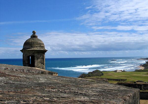 Garita (sentry post) along the fortress wall of - Castillo de San Cristabol (St. Christopher Castle)