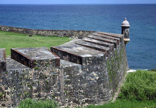 Castillo de San Cristabol - along the cannon emplacement to the garita - built to protect San Juan from eastward land approaches