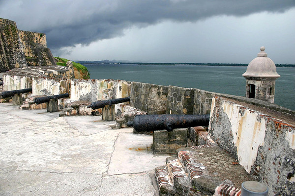 From the Garitas (sentry outpost) and cannons on the Santa Barbara Battery - to the Austria Bastion - and the distal squall above San Juan Bay