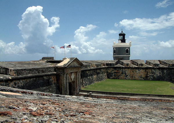 El Morro - main fort entrance - and the lighthouse (built by U.S. Navy - 1908) - a UNESCO World Heritage Site (1983) and a National Historical Site (1966)
