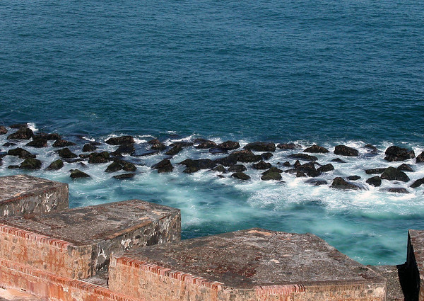 From the cannon emplacements along the north wall of the El Morro fortress - dow to the rocky Caribbean shoreline