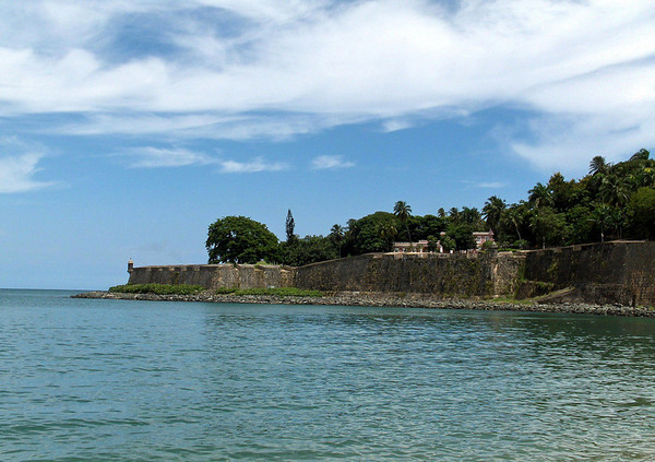 Across the San Juan Bay - to the City Wall, standing about 40 ft. (12 m) around the old city of San Juan, which was constructed from 1634 till 1650