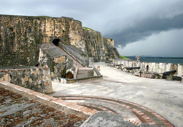 Squall moving in across the battery level (which is 1 of 6 levels to the 140 ft. (43 m) tall fortress