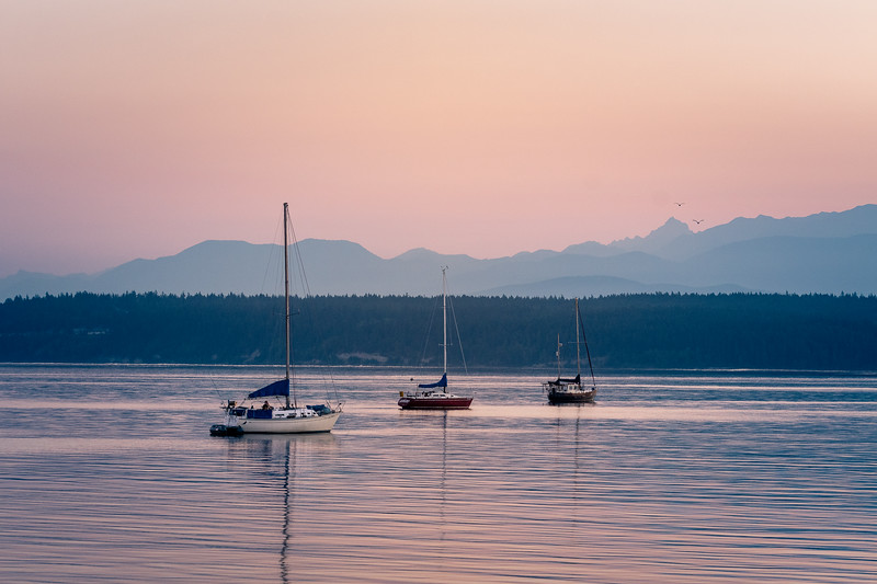 Anchored for the Night.  Port Townsend Bay.  Olympic mountains in background.
