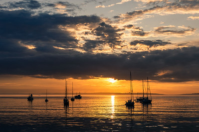 Anchoring out.  Summer sunrise, Port Townsend, Washington.