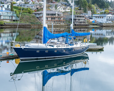 Sailboat reflections, Gig Harbor, Washington