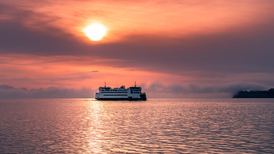 Ferry appearing thru the mists, Port Townsend, Washington
