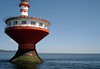 Haut-fond Prince (Prince Shoal Light) - in the Saint Lawrence River, at the mouth of Saguenay River - the tapered base helps it resist the 16 ft. (5 m) tides and waves - Quebec province.