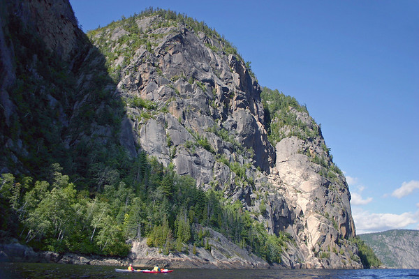 Dominique and Regis - below the granite wall of Cape Trinity in Eternity Bay - Saguenay Fjord National Park - Quebec