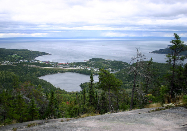 Along the trail to Mont Adela-Lessard - with Lac de I'Anse a l'Eau, village of Tadoussac, and the mouth of Saguenay River flowing into the St. Lawrence River below - Saguenay Fjord National Park and the Saguenay-St. Lawrence Marine Park - Quebec