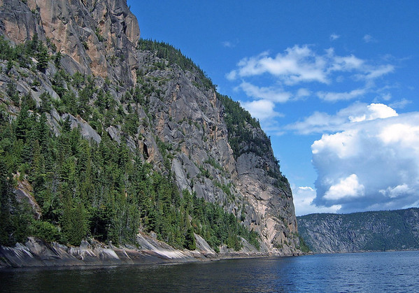 Along the granite wall of Cape Trinity - along Eternity Bay - Saguenay Fjord National Park - Quebec