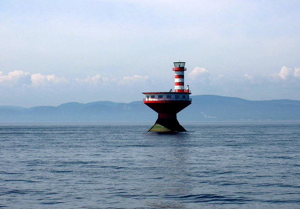 Haut-fond Prince (Prince Shoal Light) - in the Saint Lawrence River, at the mouth of Saguenay River - warns passing vessels of the underwater hazard in the area - Quebec