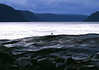 Dusk at Pointe de l'Islet, the western tip of Baie du Tadoussac - beyond the gull, up the Saguenay River and Fjord - Quebec
