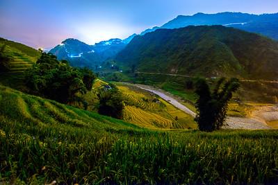 Sapa Rice Terraces  at Midnight