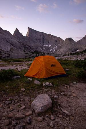Camping beneath towering granite peaks in the remote but popular Wind River Range in Wyoming.