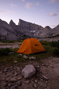 Camping beneath towering granite peaks in the remote but popular Wind River Range in Wyoming.