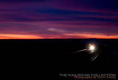 A coal train breaks the pre dawn silence as it grinds up Logan Hill in the Powder River Basin near Bill, Wyoming.