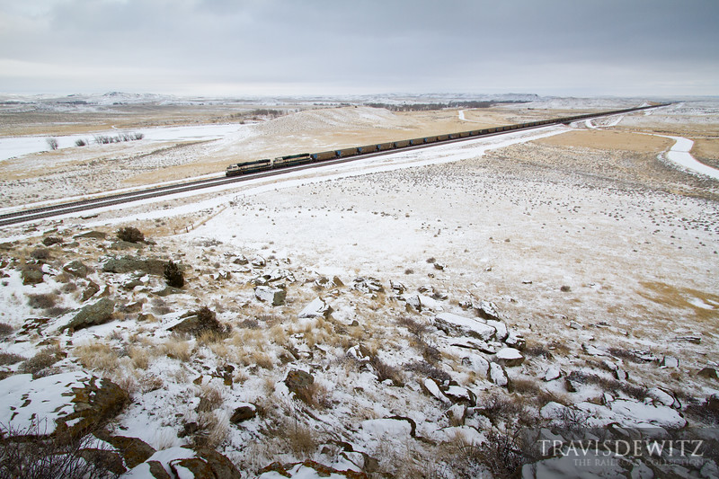 Two units dressed in Burlington Northern's Executive paint scheme head into the Powder River Basin from Fisher, Wyoming.