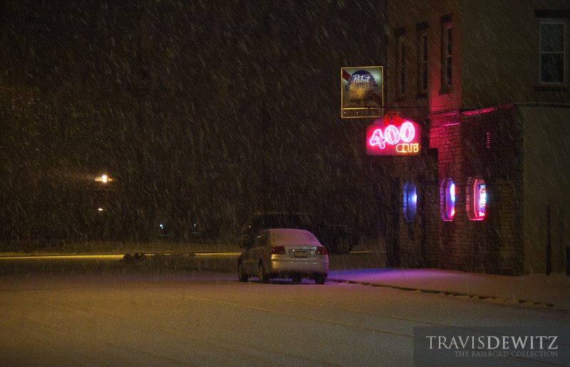 """A train sits and idles during a small snow storm near the Altoona depot which is right across the street from the """"400"""" Club.  Travis Dewitz <a href=""""http://www.therailroadcollection.com/latest-works/"""" target=""""_blank"""">The Railroad Collection</a>"""