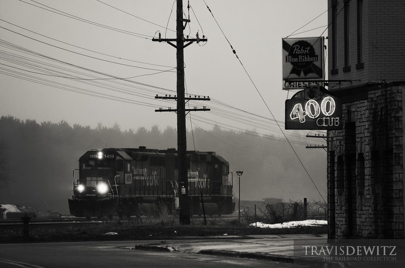"""Yard power moves through the fog and past the """"400"""" Club on this cool March day.  Travis Dewitz <a href=""""http://www.therailroadcollection.com/latest-works/"""" target=""""_blank"""">The Railroad Collection</a>"""