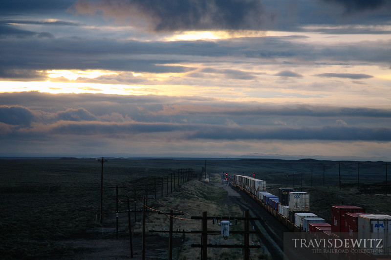 Intermodel containers head west on the Union Pacific near Wamsutter, Wyoming.