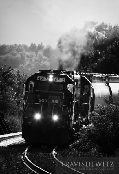 """Ex-Milwaukee Road GP38-2, now Soo Line 4512, leads the local road freight CP 560, south out of Winona after finishing up some switching.  Travis Dewitz <a href=""""http://www.therailroadcollection.com/latest-works/"""" target=""""_blank"""">The Railroad Collection</a>"""