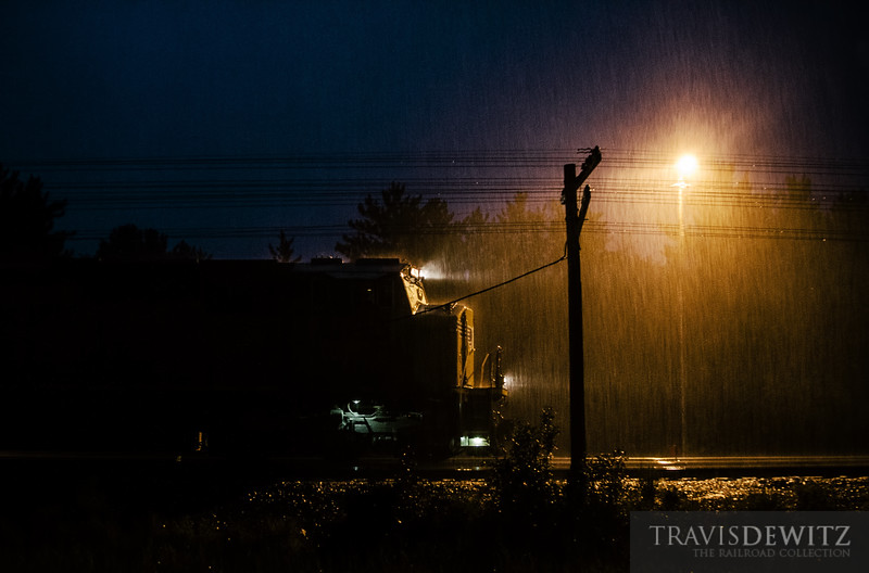Union Pacific SD-70M prepares to head east from Altoona through the Wisconsin summer severe weather.