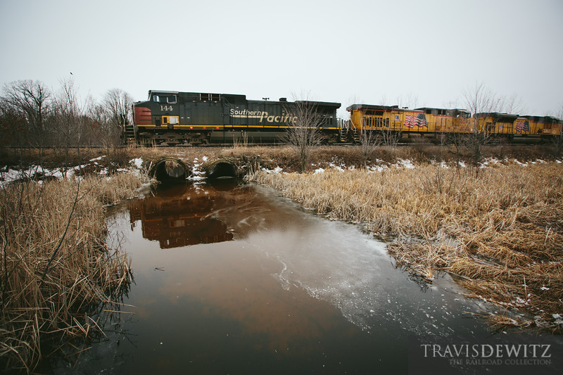 One of a handful a Southern Pacific locomotives left lead a frac sand train south on the Wisconsin Northern near New Auburn.