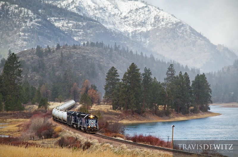 """Montana Rail Link Gas Local led by SD45 MRL 346 along the Flathead River just west of Dixon, Montana.  Travis Dewitz <a href=""""http://www.therailroadcollection.com/latest-works/"""" target=""""_blank"""">The Railroad Collection</a>"""