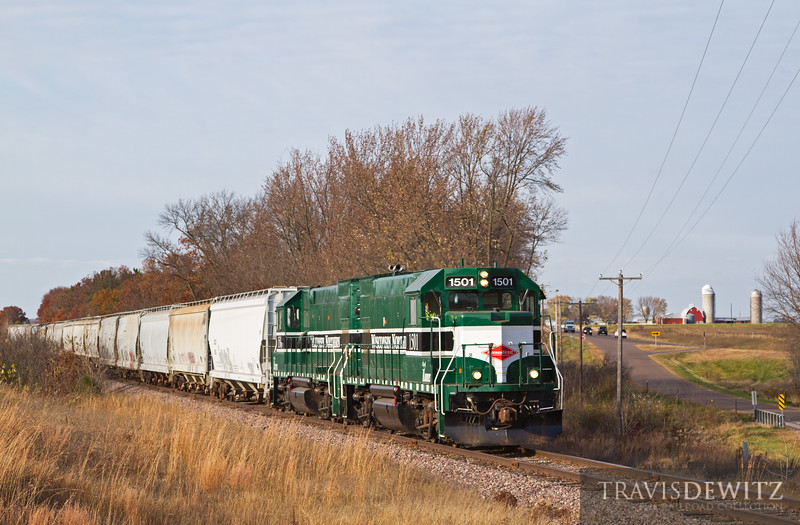 """A Wisconsin Northern train heads south across the Wisconsin countryside just a few miles from Chippewa Falls.  Travis Dewitz <a href=""""http://www.therailroadcollection.com/latest-works/"""" target=""""_blank"""">The Railroad Collection</a>"""