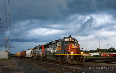 The Altoona local has just made it back to the yard as a severe thunderstorm comes in from the west.  Travis Dewitz The Railroad Collection