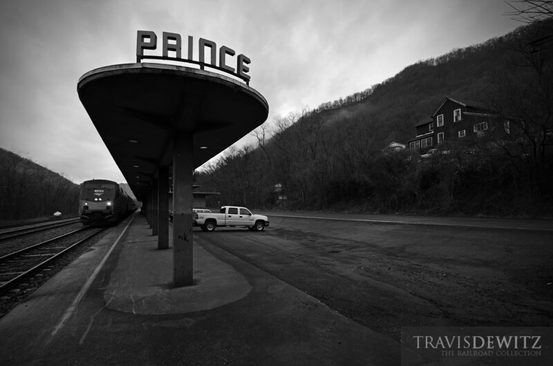 "Amtrak Cardinal train #50 arrives at the art deco inspired Prince Station in West Virginia.  Travis Dewitz <a href=""http://www.therailroadcollection.com/latest-works/"" target=""_blank"">The Railroad Collection</a>"