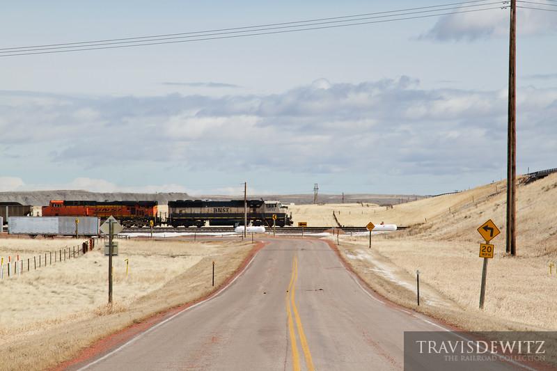 BNSF 9734 pulls their train south through Reno Junction.