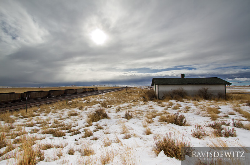 """Hoppers full of coal ride the rails across the Powder River Basin near Wright, Wyoming.  Travis Dewitz <a href=""""http://www.therailroadcollection.com/latest-works/"""" target=""""_blank"""">The Railroad Collection</a>"""