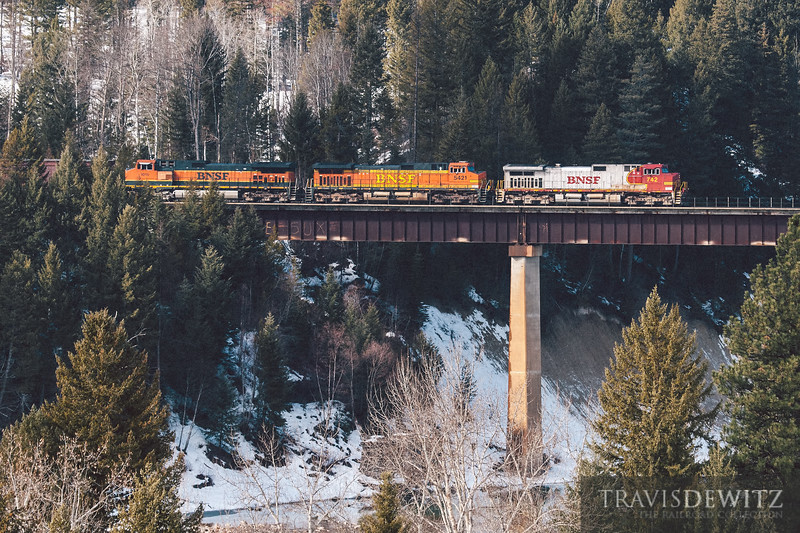 An ex- Santa Fe warbonnet crosses the Middle Fork Flathead River near Coram, Montana.