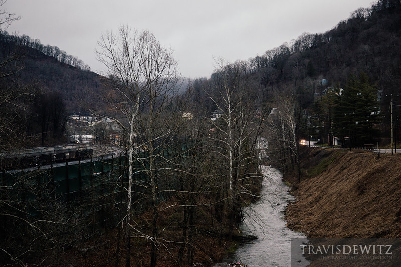 The creek seperates the hopper coal hopper loading area from the homes in Keystone, West Virginia.