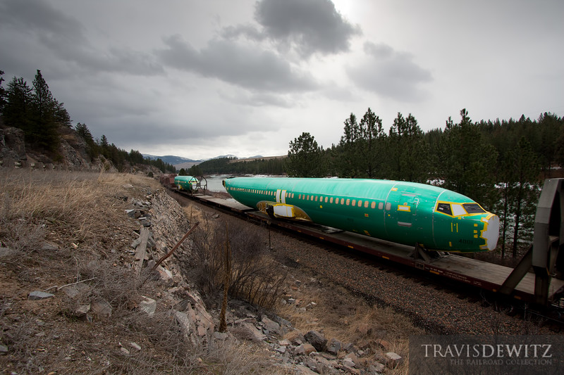 """Westbound Boeing plane bodies on a BNSF trackage right train over Montana Rail Link in ironocally, Plains, Montana.  Travis Dewitz <a href=""""http://www.therailroadcollection.com/latest-works/"""" target=""""_blank"""">The Railroad Collection</a>"""
