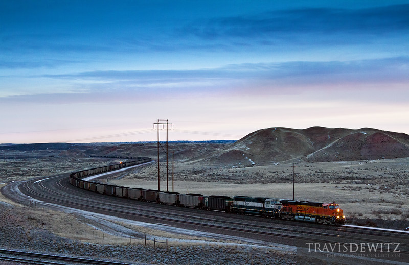 BNSF 6401 and 9401 lead more coal out of the Powder River Basin just a few miles north of Bill, Wyoming.